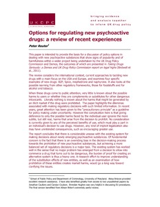 Options for regulating new psychoactive drugs: a review of recent